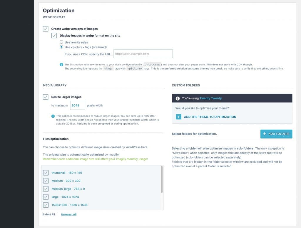 Imagify WebP Optimizations